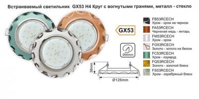 Встраиваемый GX53 H4 Круг с вогнутыми краями, металл-стекло