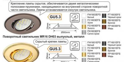 Поворотный светильник MR16 DH09 плоский и DH03 выпуклый, металл