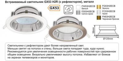 Встраиваемый светильник GX53 H2R, (c рефлектором), металл