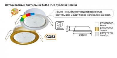 Встраиваемый светильник GX53 PD Глубокий Легкий