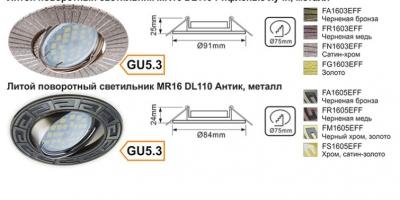 литой поворотный светильник MR16 DL119 Рифленые лучи и литой поворотный светильник MR16 DL110 Антик, металл
