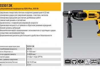 S25013K Трехрежимный перфоратор SDS-Plus, 650Вт